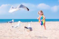 Liten flicka som spelar med seagulls Arkivfoto