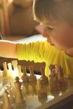 Liten flicka som spelar schack arkivbild