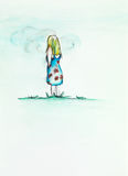 Liten flicka som stirrar på himlen Arkivbild