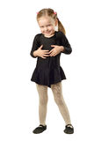 Liten flickadansare som isoleras på vit bakgrund Arkivfoton