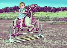 Liten flickadröm av att rida en ponny Royaltyfria Foton