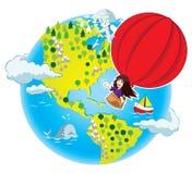 Liten flickaflyg i luftballongen Vektor Illustrationer