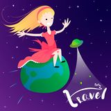 Liten flickaflyg på jordplaneten - begrepp av det globala loppet Arkivbild