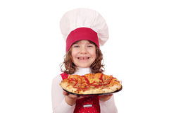Liten flickakock med pizza Arkivbilder