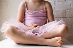 Liten flickasammanträde i rosa ballerinakjol Arkivfoton