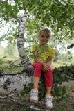 Liten flickasammanträde på en trädstam 20302 Royaltyfri Foto