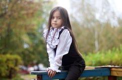 Liten flickasammanträde på lekplatsen Royaltyfri Fotografi