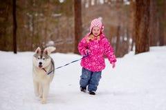 Liten flickaspring i träna med hasky arkivbilder