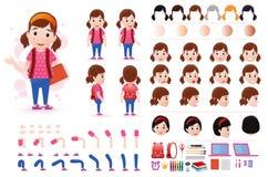 Liten flickastudent Character Creation Kit Template med olika ansiktsuttryck vektor illustrationer
