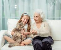 Liten flickawithgrandmother som spelar med katten Royaltyfria Bilder