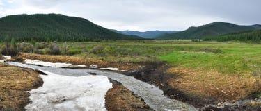 Liten flod i bergdalen Royaltyfria Bilder