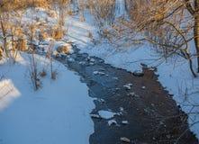 Liten flod i solig dag för vinter Royaltyfri Foto