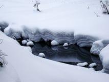 Liten flod i vinter, Ryssland Arkivfoton