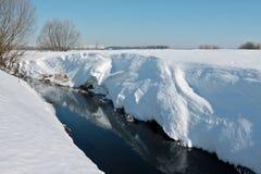 Liten flod med branta snöig banker för höjdpunkt i ljus vinterafterno Royaltyfri Fotografi