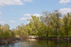 Liten flod med en nivå för högt vatten på en solig dag Royaltyfria Foton