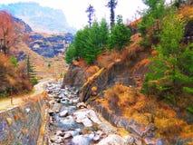 Liten flod ner kullen arkivbilder