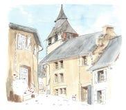 Liten fransk by för illustration Royaltyfri Fotografi
