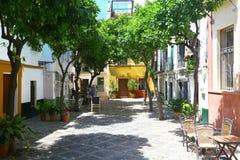 Liten fyrkant av barrioen de Santa Cruz, Sevilla royaltyfria foton