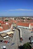 Liten fyrkant och bästa sikt för röda tak, Sibiu, Romanai arkivfoto
