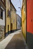 Liten gata med ljusa röda och gula hus i Porto Royaltyfri Foto