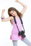 Liten gladlynt fotograf fotografering för bildbyråer