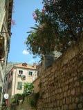 Liten gränd med stenväggen och gamla byggnader i Kroatien Arkivfoton