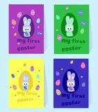 Liten grå kanin för påsk Fyra kort med kanin och färgrika ägg Min första påsk Vektorillustration som dekorerar ferien stock illustrationer