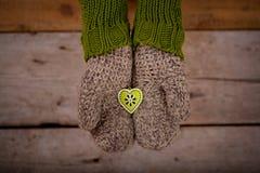 Liten grön hjärta i händer Arkivbild