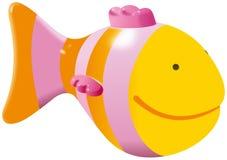 Liten gul fiskleksak vektor illustrationer