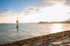 Liten gul fyr på kusten royaltyfri foto