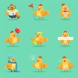 Liten gulinghönaChick Different Emotions And Situations serie av gulliga Emoji illustrationer vektor illustrationer