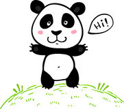 Liten gullig panda för klotterteckningsvektor Arkivfoto