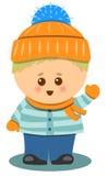Liten gullig pojke med för vektorillustration för vinter kläder isolerad design Royaltyfria Bilder