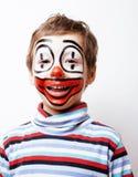 Liten gullig pojke med facepaint som clown, pantomimic uttryck Royaltyfria Bilder
