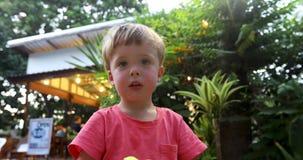 Liten gullig pojke på grön terrass arkivfilmer