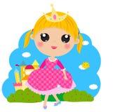 Liten gullig prinsessa och slott Arkivbilder