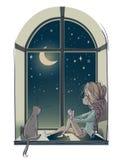 Liten gullig tecknad filmflicka med katten Arkivbild