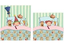 Liten häxa som sover med leksaker Royaltyfri Fotografi