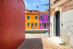 Liten hemtrevlig borggård med den färgrika stugan/Burano, Venice/den lilla gården med ljusa väggar av hus/italiensk ö Burano Royaltyfria Bilder