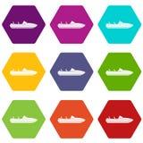 Liten hexahedron för färg för powerboatsymbolsuppsättning vektor illustrationer