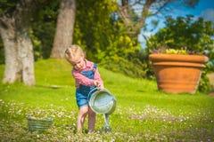 Liten hjälpreda på det gröna gräset i sommardag Royaltyfria Foton