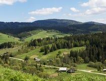 Liten by i härliga Carpathians, Ukraina arkivfoton