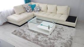 Liten idé för lägenhetvardagsrumdesign, lädersoffa, loge, kaffetabell, grå lyxig matta, modern parketttextur, t Arkivbilder