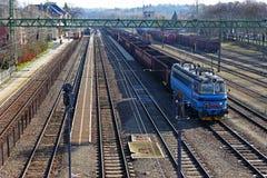 Liten järnvägsstation från över Fotografering för Bildbyråer