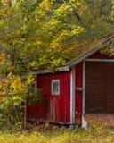 Liten kabin under träden arkivbild