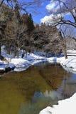 Liten kanal som omges med Snow Royaltyfri Fotografi