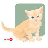 Liten kattunge i polygonal stil på vit- och gräsplanbakgrund Dalta katten Röd katt Skriv ut katten för att bekläda och t Royaltyfria Bilder