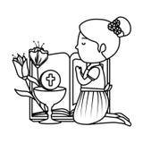 Liten knäfalla flicka med bibeln och den första nattvardsgången för blommor royaltyfri illustrationer