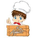 Liten kock - Bon Appetit för förpackande menyrengöringsduk för maskot stock illustrationer
