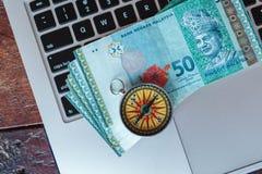 Liten kompass och malaysian ringgits på ett bärbar datortangentbord arkivbild